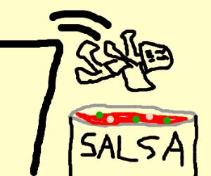 Darth Vader falls in a vat of salsa