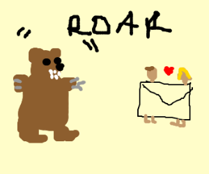 Bear about to eat envelope lovers