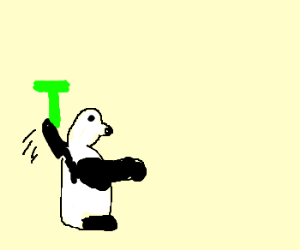 "Panda throwing the letter ""T"""