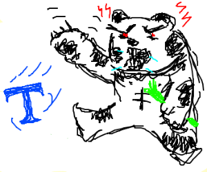 """Angry panda throws green letter """"T"""""""