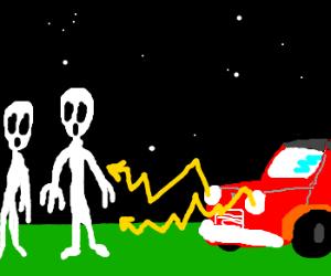 Car shooting lightning at aliens.
