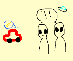 2 aliens get shock by red electric car