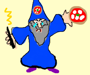Unhappy pizza wizard