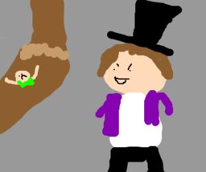 Wonka watches kid in stream of chocolate