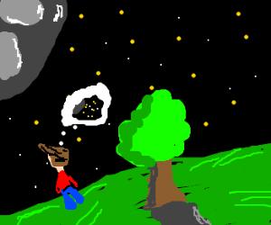Man ponders the night sky