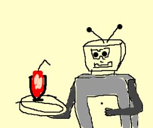 robot butler serves milkshake on tray