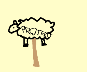 Picket sign shaped like a lamb.