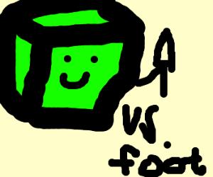 Slime futily fights foot, still happy