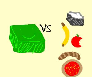Green smiling box vs. foot.