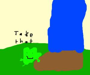 gleeful leaf tickles a man's foot