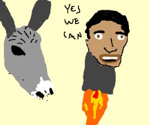 donkey launches Obama rocket