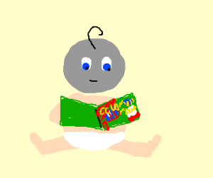 greyfaced baby reads Goodnight Moon