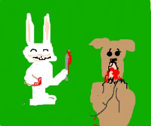 'Be Happy'  Rabbit slices dog's tongue
