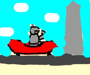 Robots Riding a Sausage Rides to a City