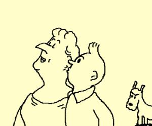 Tintin kisses Castafiore, Snowy watches