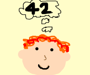 Ginger boy thinking about number 42