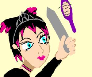 Emo anime princess fights a hairbrush