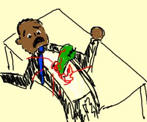 Obama in Alien chestbuster scene