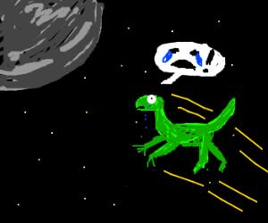 Weeping dinosaur about 2 collide da moon