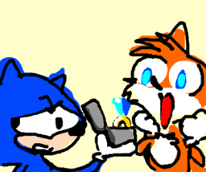 Sonic reluctantly proposes to tails