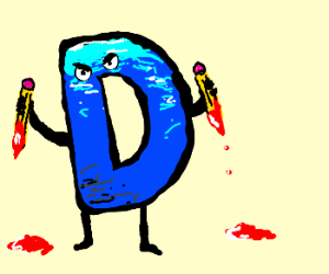Water filled D on pencil rampage