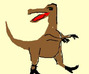 Velocirraptor wearing high heels