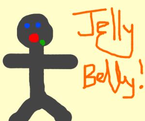grey man eating jellybean