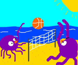 purple octopuses play beach volleyball