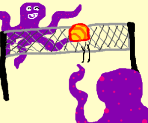 purple octopuses playing volleyball