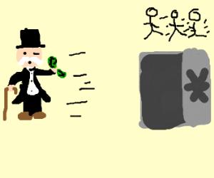 Monopoly guy takes everybodys money