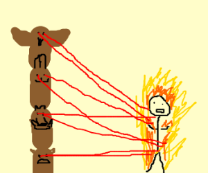Totem Pole burns Man with LaserVision