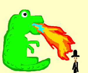 dinosaur breathes fire at abe lincoln