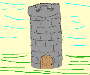 stone tower with a wooden door