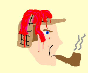 Sherlock Holmes wears intestines on head