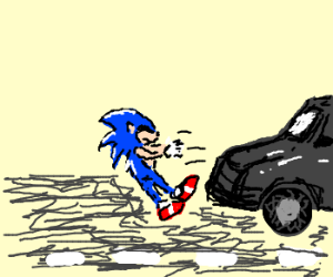 sonic gets hit by a car