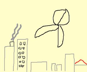 Pair of scissors attacks city