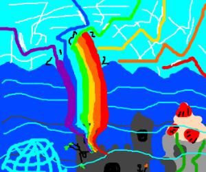 Rainbow enters Atlantis and destroys sky