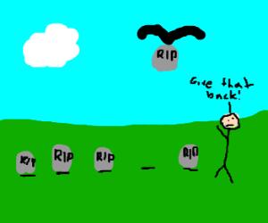 raven stole a gravestone