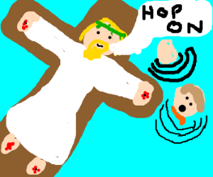 crucified man saves drowning man