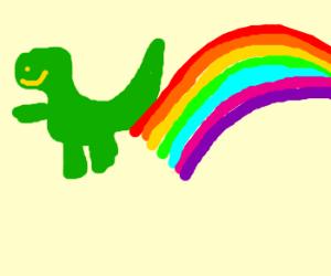 dinosaur farting a rainbow