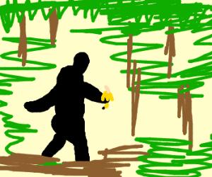 Bigfoot eating a banana