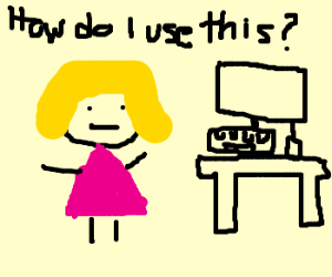 dumb blonde don't know how to computer