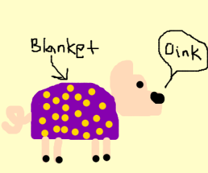 Pig in a polka dotted blanket