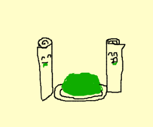 two scrolls eating jello