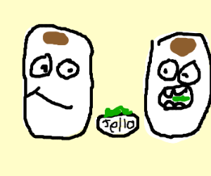 Two paper towel rolls eat green jello
