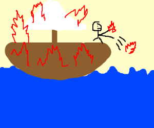 Man throwing fire from burning boat