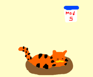 Garfield sleeping on a monday