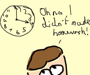 kid realises at 4 he didnt made homework