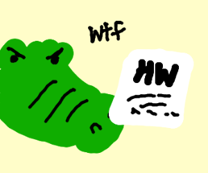 Crocodile is confused by his homework.