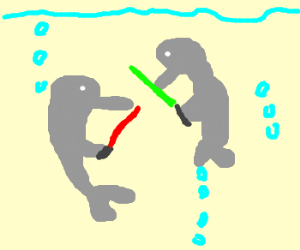 dolphins battle with lightsabers